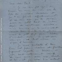 [Lettre de Lucien Bourgogne à Paul Perdrizet le félicitant de la légion d'honneur]