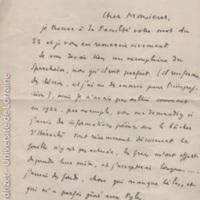 [Lettre d'Yves Béquignon à Paul Perdrizet sur une éventuelle candidature à Strasbourg pour le remplacer]