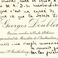 [Lettre de Georges Doublet à Paul Perdrizet sur la Vierge de Miséricorde de Biot]