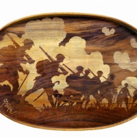 Marqueterie figurant des soldats britanniques de la première guerre mondiale